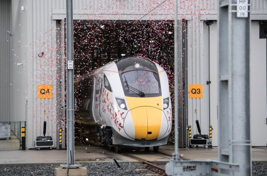 Unveiling ceremony of the first IEP train built at Hitachi Rail Europe Newton Aycliffe plant, County Durham.